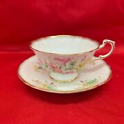 Paragon Fine Bone China England Teacup Saucer Double Warrant Pink Yellow Floral