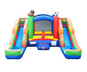 Pogo Sports Inflatable Bounce House Double Lane Water Slide Pool With Blower