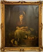 Portrait Of Girl With Dog And Fruit Basket Oil On Canvas Painting