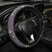 Car Steering Wheel Crystal Cover Leather Rhinestone Interior Accessory For Women