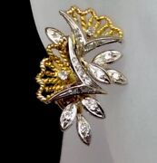 Vintage Genuine Diamond Cluster Earrings Solid 14k Two Tone Gold Estate Jewelry