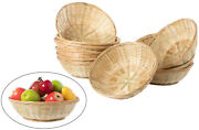 New Set Of 12 Round Bamboo Serving Wicker Bread Roll Baskets Display Tray Large