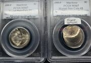 ⭐ 2 Coinand039s 1999 Nickel Mated Pair Triple Struck Brockage Mint Error Pcgs Ms67 ⭐