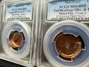 ⭐ 2 Coinand039s 1997 Mated Pair Double Struck Cupped Full Brockage Mint Error Ms64rb⭐
