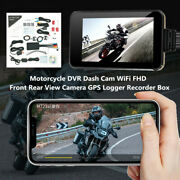 Motorcycle Dvr Dash Cam Wifi Fhd Front Rear View Camera Gps Logger Recorder Set