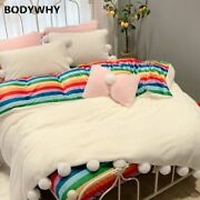 Flannel Soft Warmth With Fluffy Ball Double Extra Large Extra Large 4pcs Bedding