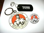 Nos Vintage, Tom Of Finland Embossed Key Ring, Lapel Pin, And Plastic Dog Tags,