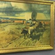 Western Art Print Mules And Stage Coach...gold Rush .. 1920s Museum Purchase