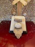 Vintage Antique Sterling Silver 925 Nepal Solid Pendant And Earrings With Quartz