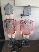 """2 Vintage Animated Christmas Toy Soldiers Yard Decor Lighted 49"""""""
