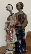 Chinese Ceramic Young Man And Lady Figurine Porcelain Dolls Figurine.