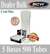 500 Bcw Round Cent Penny Tubes Archival Storage 19mm Diameter Scew Caps New Case