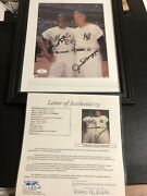 Autographed Joe Dimaggio And Willie Mays 8x10 Photo Framed Jsa Certified Signed