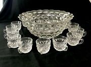 Vtg Fostoria American Clear Punch Bowl 14- 15 Cups Pressed Glass Heavy Usa Cube