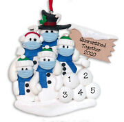 Quarantine Pandemic Polymer Clay Snowman Family 5 Ornament Deb And Co