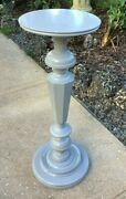Antique Wood Pedestal Stand With Modern Paint Finish