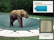 Solid Tan Cover For 16 X 34 Pool With Auto Cover Pump 4 X 8 Center