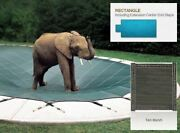 Tan Mesh Cover For 16and039 X 32and039 Pool With 4and039 X 8and039 Center End Steps