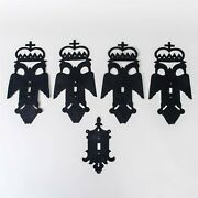 Set Of 5 Vintage Masonic Metal Light Switch Covers Cut Out Double-headed Eagle