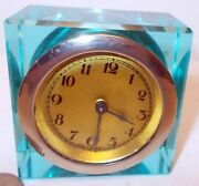 Vtg Mcm Art Deco Teal Turquoise Lucite Acrylic Alarm Clock Germany Hollywood