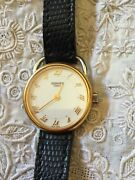Authentic Hermes Arceau Watch 18k Gold Plated Roman Numerals Black Leather Band