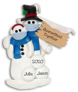 Quarantinetogether Pandemic Polymer Clay Snowman Couple Ornament Deb And Co