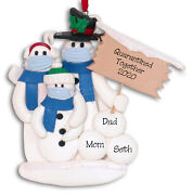 Quarantine Together Pandemic Polymer Clay Snowman Family Of 3 Ornament Deb And Co