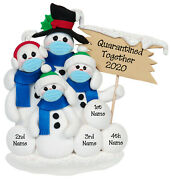 Quarantine Together Pandemic Polymer Clay Snowman Family Of 4 Ornament Deb And Co