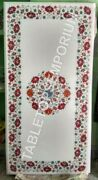 48x24 White Marble Dining Center Table Top Carnelian Inlay Floral Decor E1483
