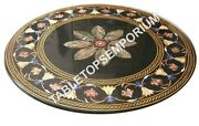 36 Round Black Marble Coffee Table Top Marquetry Inlay Patio And Home Decor H5663