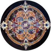 36 Black Round Marble Dining Top Table Pietra Dura Inlay Furniture Decor E506