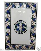 2and039x3and039 White Marble Top Dining Table Lapis Lazuli Malachite Inlay Floral Decor