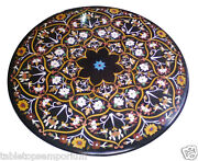 42x42 Black Marble Garden Decorative Marquetry Dining Table Top Inlay Mosaic