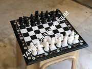 15 Marble Chess Square Table Top With 3 Chess Pieces Inlay Stone Decor E1203a