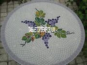 36 White Round Marble Coffee Table Grapes Art Marquetry Inlay Garden Gift Decor