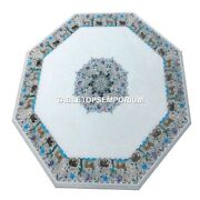 White Marble Dining Center Room Table Top Animal Inlay Multi Home Decor H4499