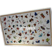3and039x4and039 Multi Butterfly Art Marble Table Top Handmade Real Inlay Living Room Decor