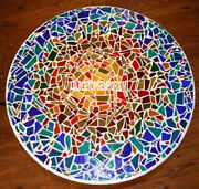 36 Beautiful Outdoor Mosaic Decor White Inlay Marble Multi Stone Dining Table