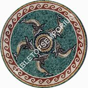 36 Marble Round Coffee Table Top Mosaic Fish Inlay Home And Furniture Decor E916a