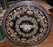 36and039and039 Black Marble Dining Center Table Top Semi Inlay Pietradura Furniture Decor