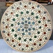 36 White Round Coffee Marble Hallway Table Top Inlay Home And Outdoor Decor H4376