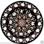 30x30 Italian Round Marble Center Table Top Mosaic Inlay Marquetry Home Decor
