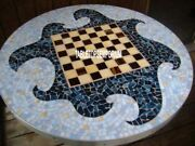 42 Gorgeous Marble Chess Play Table Top Modern Mosaic Inlay Patio Decor H4042a
