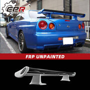 For Nissan Skyline Gtr R34 Oe Style Frp Rear Trunk Spoiler Wing + Carbon Blade