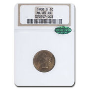 1908-s Indian Head Cent Ms-65 Ngc Cac Red/brown - Sku216806
