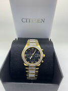 New Citizen Eco-drive Crystal Gold-tone Stainless Steel Mens Watch Ca0752-58e