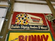 Rare Large Metal Wonder Bread Double Sided Metal Sign Gas Oil Soda Cola