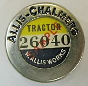 1930and039s Allis Chalmers Tractor W. Allis Works Employee Pinback Badge +