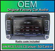 Vw Caddy Car Stereo Rcd 510 Radio 6 Cd Changer Touchscreen Sd Card Volkswagen