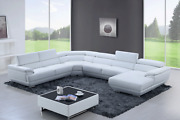 Esf 430 Extravaganza Collection White Leather Sectional Sofa And Chaise